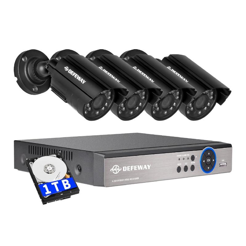 DEFEWAY 8CH DVR 720 p HDMI CCTV Sistema di Sicurezza Video Registratore 4 pz 1200TVL Casa di Sicurezza Impermeabile Macchina Fotografica di Visione Notturna 1 tb HDD