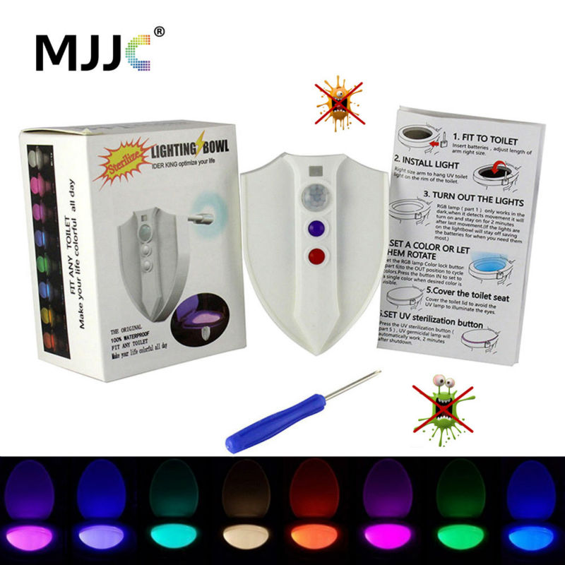 Motion Activated Toilet Night Light 8 Warna UV-C sterilize Light Bowl Toilet UV Germicidal Light Sensor Seat Lamp Waterproof