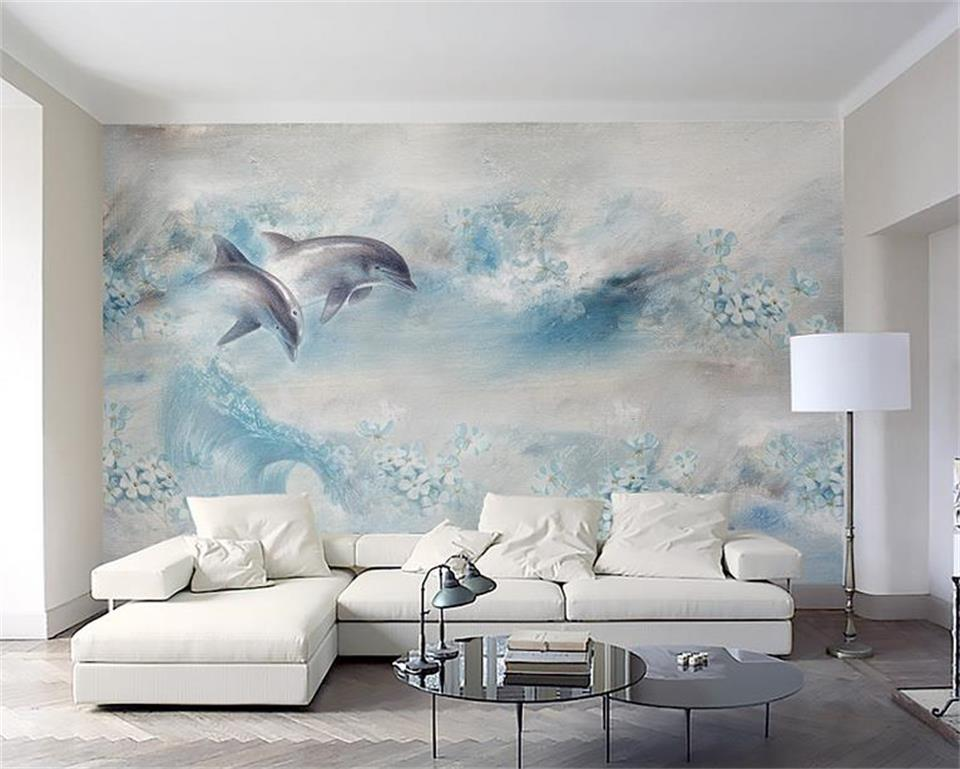 3d room photo wallpaper custom mural non-woven light blue dolphin flowers painting picture 3d wall murals wallpaper for walls 3d 3d ceiling murals wallpaper custom photo non woven angels blue sky white clouds painting 3d wall mural wallpaper for living room