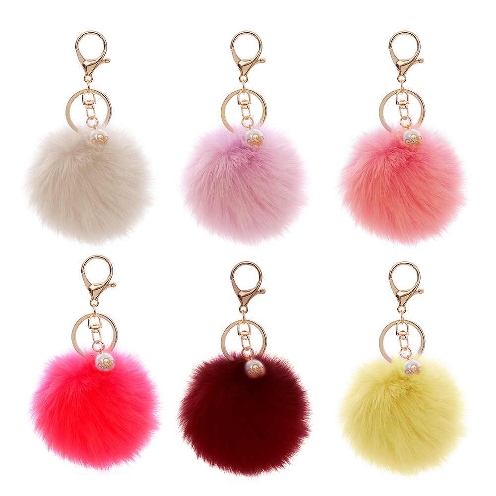 1 Pcs New Fashion Fluffy Sacos Acessórios Saco Das Mulheres de Pele de Coelho Artificial Pearl Pendant Ornamentos Bolsa Pingente Venda Quente