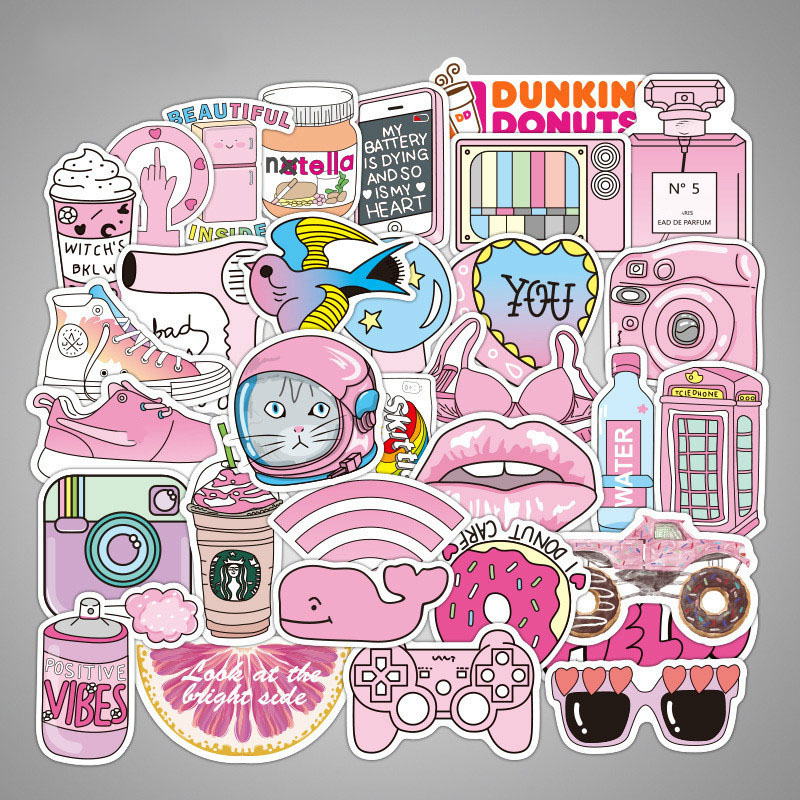 50pcs Pink Girl kawaii Fun Stickers for DIY Decorative Laptop Suitcase Luggage Moto Car Skateboard Phone Refrigerator50pcs Pink Girl kawaii Fun Stickers for DIY Decorative Laptop Suitcase Luggage Moto Car Skateboard Phone Refrigerator