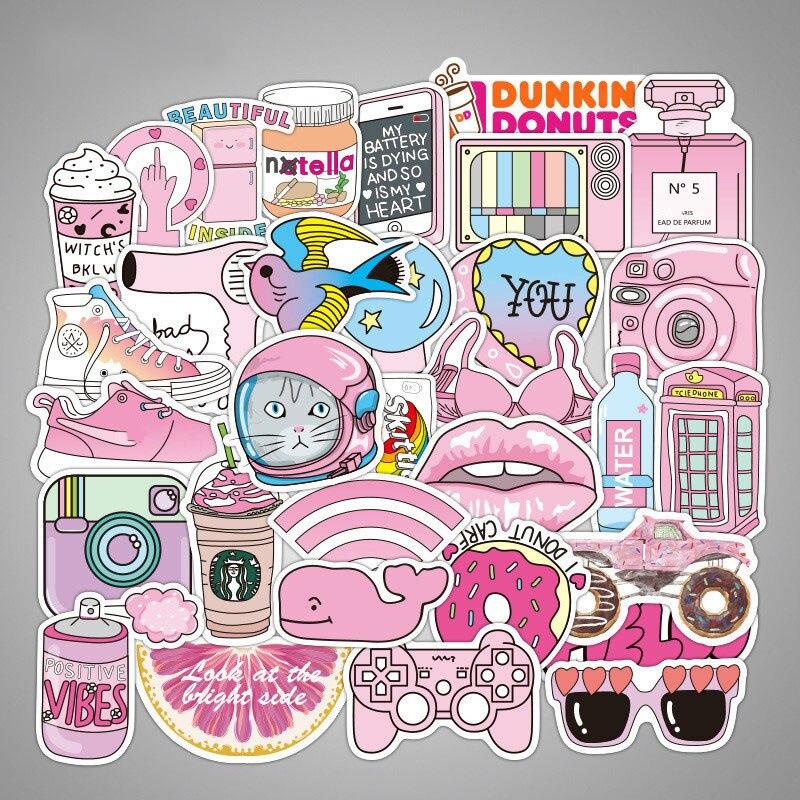 50pcs Pink Girl Kawaii Fun Stickers For DIY Decorative Laptop Suitcase Luggage Moto Car Skateboard Phone Refrigerator