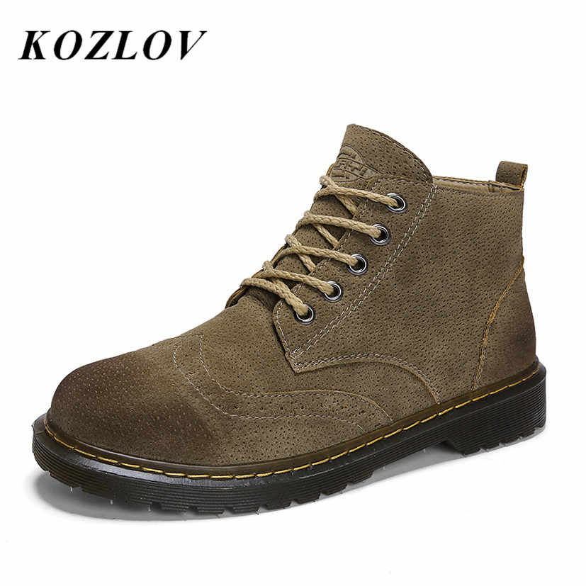 d366e0e0894 KOZLOV Mens Martin Boots Suede leather Brogue Shoes Casual Vintage Military  Ankle Boots For Men Safety Work Boots Men Botas Bot