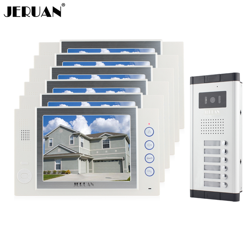JERUAN Brand New Apartment Intercom 8`` LCD Video Door Phone Doorbell intercom System for 6 house 1V6+8GB card+free shipping brand new 2015 6 48 288 a154