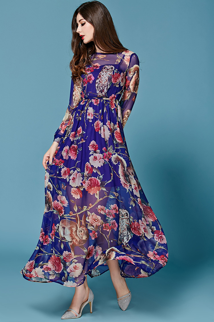 06fb3064af4f Casual Dress Free Shipping 2015 Newest Runway Fashion Quality Long Sleeves  Digital Owl Printed Silk Designer Long Purple Dress-in Dresses from Women s  ...