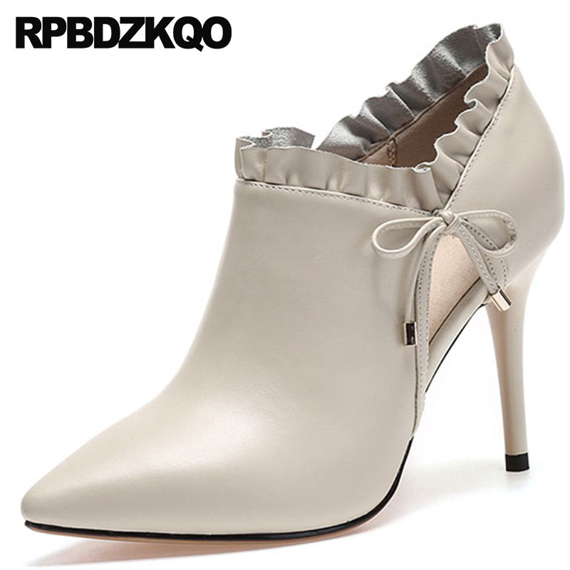 9caa5a7fa35 Women Ankle Shoes Fall White Wedding Boots High Heel Stiletto Beige Booties  Genuine Leather Pointed Sexy Bow Autumn Thin 2018