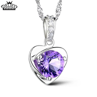 DELIEY Cute Purple Heart Necklace Small Crystal Heart Shaped Pendant Female 100 925 Silver Silver Neclace