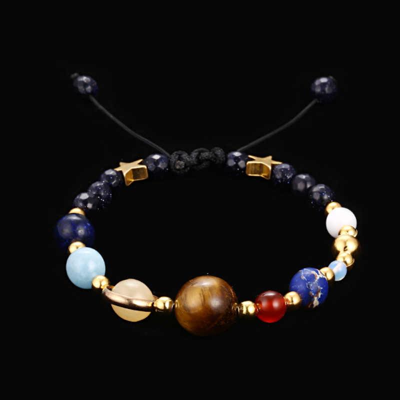 Ręcznie robione układ słoneczny bransoletka wszechświat Galaxy osiem planety gwiazda kamień naturalny koralik bransoletki bransoletki dla kobiet mężczyzn biżuteria