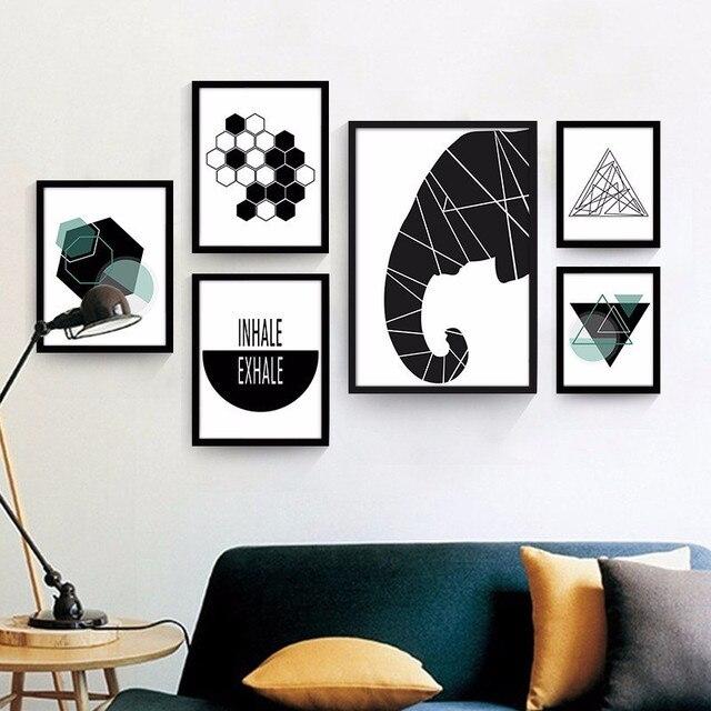 Geometri Abstrak Dekorasi Rumah Nordic Lukisan Gambar Minimalis