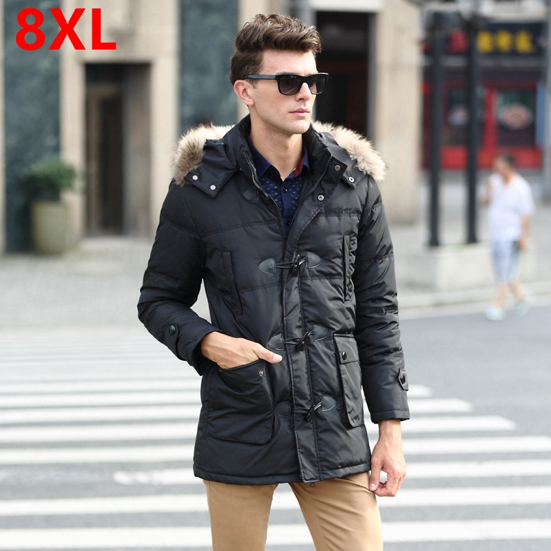 Mens big yards down jacket large size mens winter big yards long section of thick fur collar coat mens cold