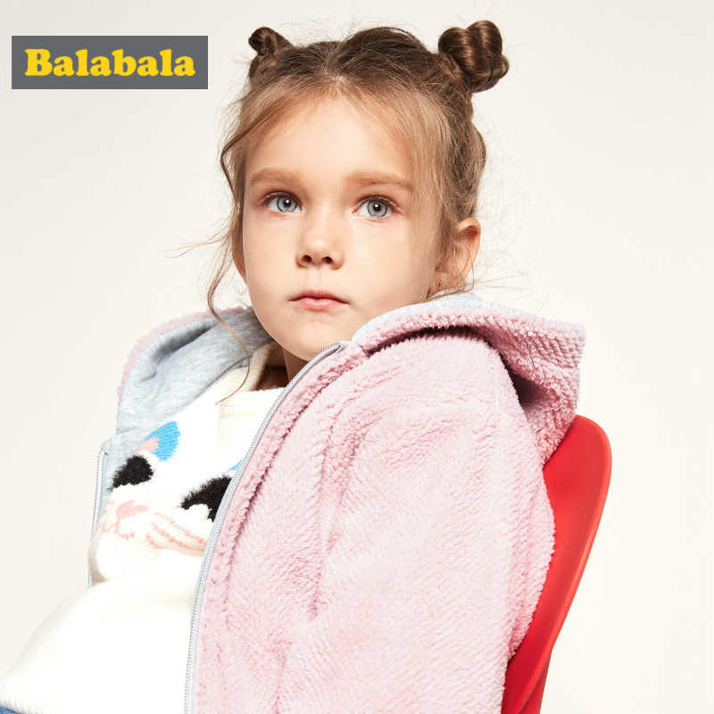 Balabala פעוט ילדה הפיך מרופד פרווה ברדס מעיל עם אלכסון כיס ילדים Zip מעיל עם שרוול מצולעים ומכפלת חורף