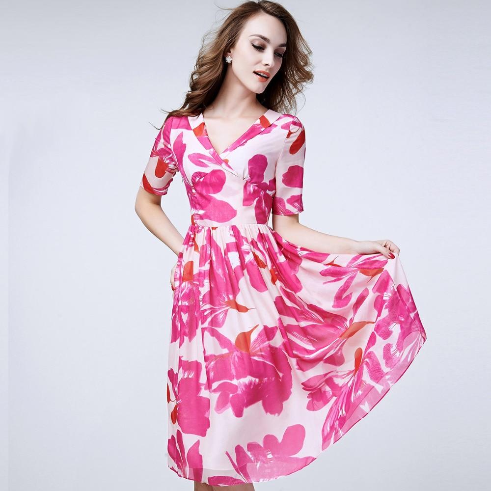 100% Silk Dress Pure Silk Fabric Floral Printed Pattern