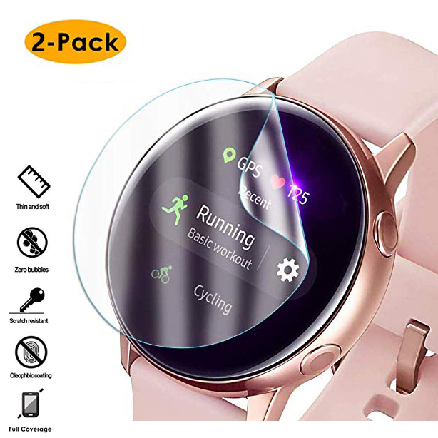 2pcs Ultra-thin Protective Film For Samsung Galaxy Watch Active Soft 3D Round Edge Screen Protector Cover Band + Cleaning Kits