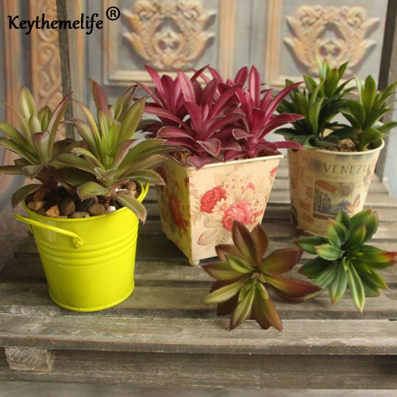 Keythemelife Hierba Hoja Desierto Planta Artificial Jardín Raro Bonsai Plantas Suculentas Paisaje Flor Falsa Casa Bonsai Decoración A
