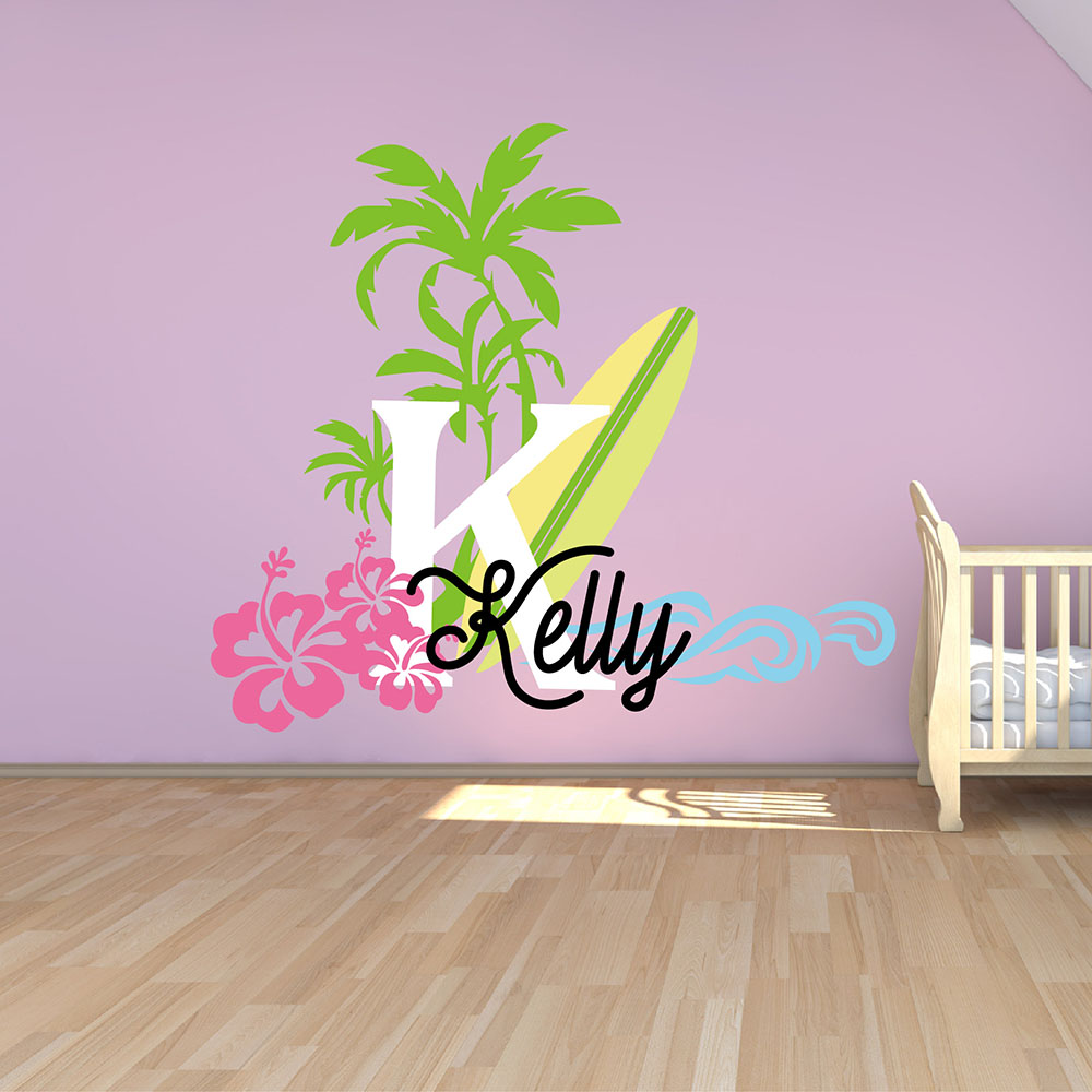 Surfboard with name wall decal baby palm tree vinyl wall decals surfboard with name wall decal baby palm tree vinyl wall decals nautical nursery wall stickers summer holiday name stickers 623c in underwear from mother amipublicfo Gallery
