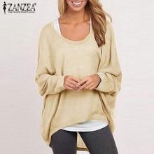 ZANZEA Fashion Women Batwing Sleeve Blouse 2018 Autumn O-neck Long Sleeve Blusas Femininas Casual Loose Tops Plus Size Shirts