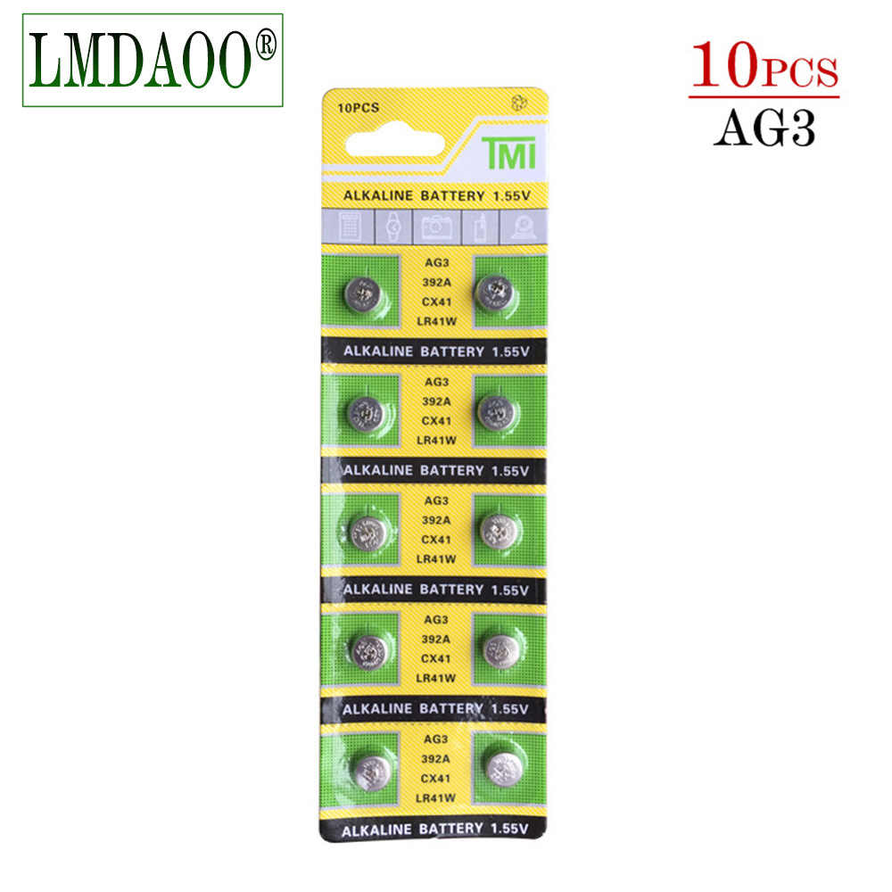 Cheap LR41 battery 10x LR41 AG3 392A SR41SW 384 LR736 V3GA 192 1.55V Cell Battery Watch Button Coin pile pilas boton