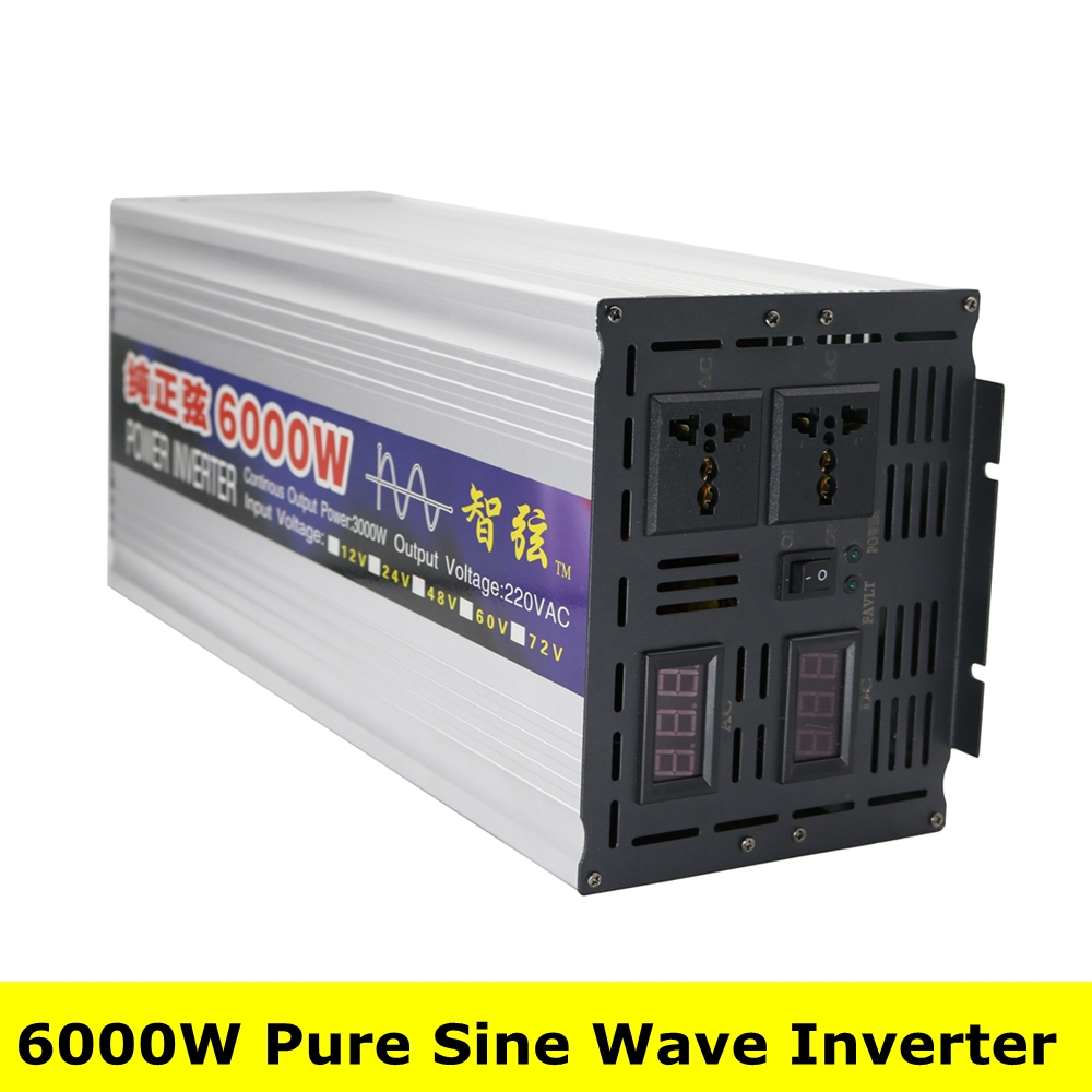 Peak Power 6000W OFF Grid Inverter Pure Sine Wave DC 12V/24V to AC 220V Power Inverter Converter Dual Digital Display Inverter