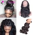 mslynn 360 Lace Frontal With Bundle Brazilian Body Wave 3 Bundles With Frontal,Pre Plucked 360 Frontal With Human Hair Bundles