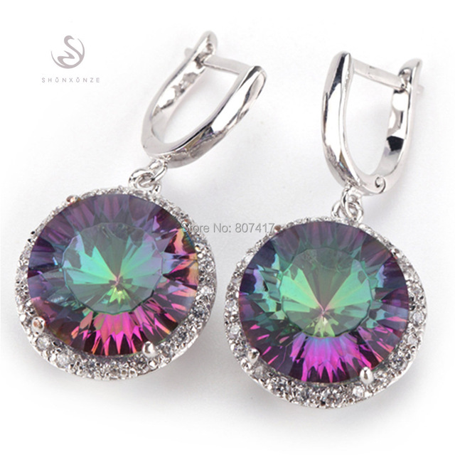 Magnificent Rainbow and White Cubic Zirconia Silver Plated Earrings E737 European Jewelry Wedding Party Birthday Top Quality Hot