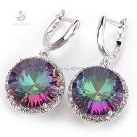 Fashion Romantic Rainbow Mystic Topaz 925 Silver Crystal Earrings E737