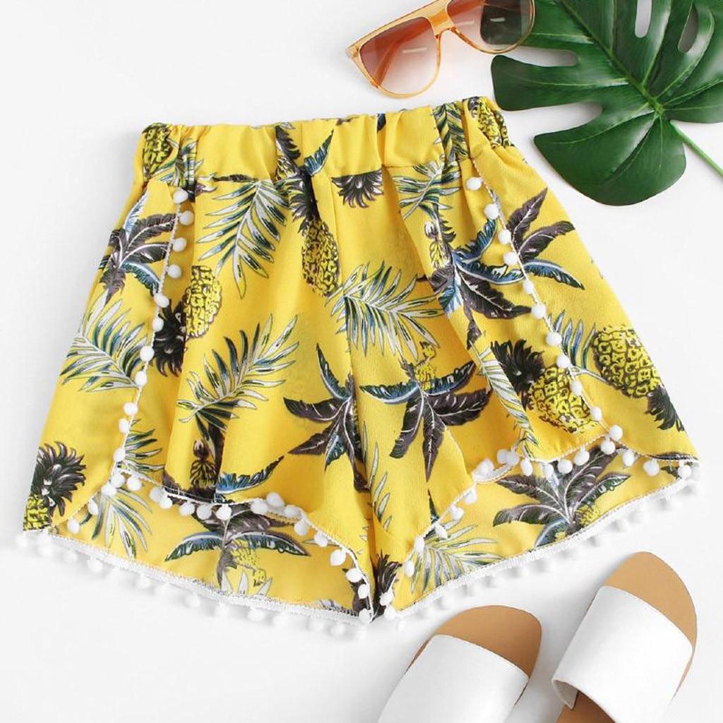 Shorts Spodenki Damskie 2019 Femme Pantalones Cortos Mujer Pineapple Printing Mid Waist Loose Sexy Elastic Waist ShortsZ4