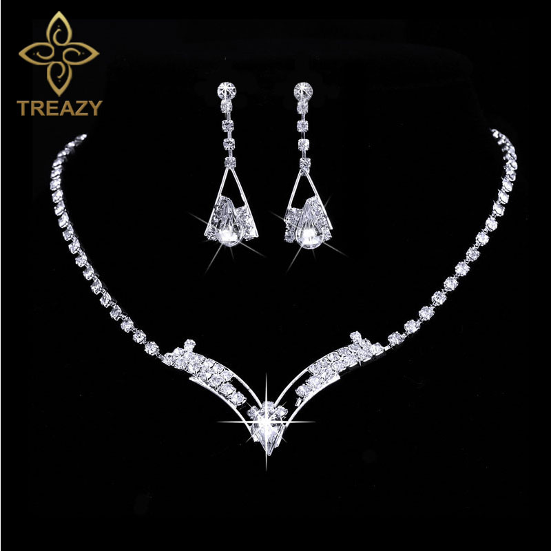 Treazy Women Sparkling V Shaped Rhinestone Crystal Necklace Earrings Set Charm Silver Jewelry Wedding Bridal In Sets From