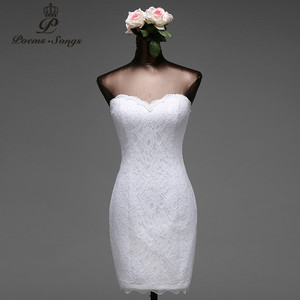 Image 1 - บทกวีเพลงลูกไม้ดอกไม้สั้นชุดเดรสเมอร์เมด 2020 vestido de noiva Robe de mariage เจ้าสาวจัดส่งฟรี