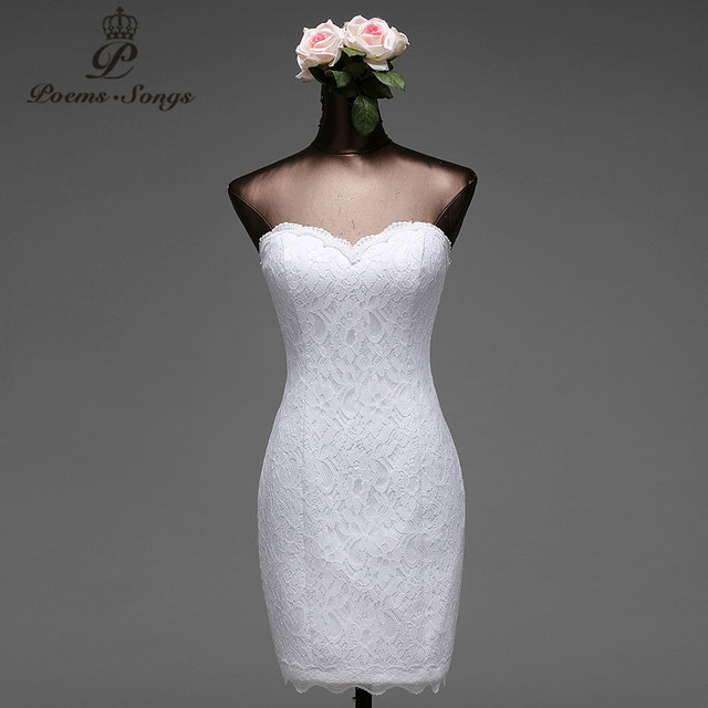 บทกวีเพลงลูกไม้ดอกไม้สั้นชุดเดรสเมอร์เมด 2020 vestido de noiva Robe de mariage เจ้าสาวจัดส่งฟรี