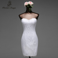 Poems Songs High Quality Lace Flowers Short Mermaid Wedding Dresses Vestido De Noiva Robe De Mariage