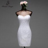 Poems Songs High Quality Lace Flowers Short Mermaid Wedding Dresses Vestido De Noiva Robe De Mariage