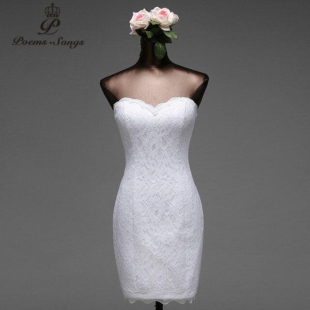 Poemas Músicas De Alta Qualidade Flores Renda Curto Sereia Vestidos Casamento Vestido Noiva Robe Mariage Frete Grátis