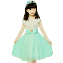 лучшая цена 2019 New Arrival girls princess dress children party wear veil big bow flower girl wedding dress For baby girls 4 5 13 Years Old