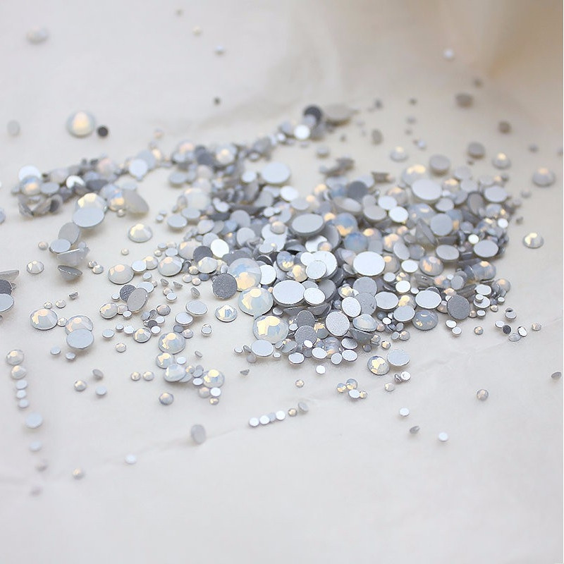 Super Shiny SS3-SS34 White Opal Glitter Non Hotfix Opal Color 3D Nail Art Decorations Flatback Rhinestones Strass Stones ccbling super shiny ss3 ss40 bag clear crystal ab color 3d non hotfix flatback nail art decorations flatback rhinestones