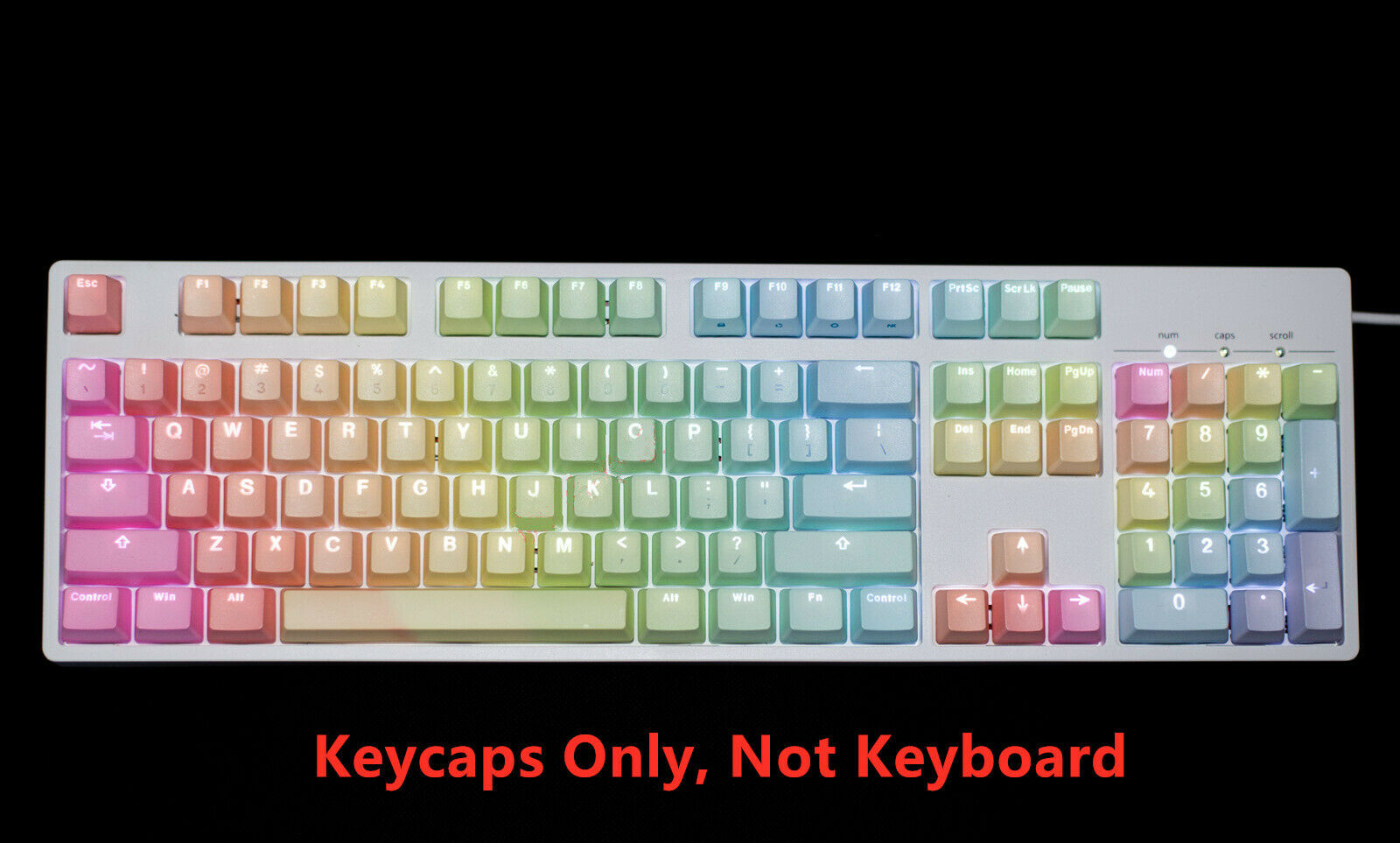 Keyboard keycaps Mechanical Keyboard Keycaps Rainbow PBT Game Keyboard Keycap Multi Color 104 Keycap Use ANSI Color : 104 Keys top Print