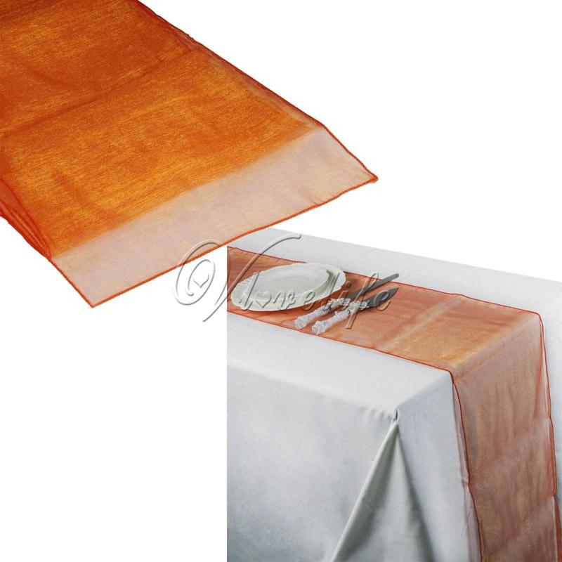 1Piece Coral Orange 30cm*270cm Sheer Organza Fabric Organza Table Runner  Chair Sash Bows For