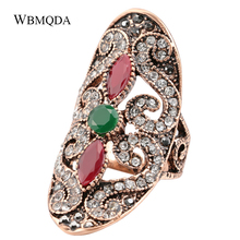Vintage Bohemian Big Statement Ring Luxury Antique Gold Crystal Wedding Rings For Women Turkish Jewelry Trending Products 2018