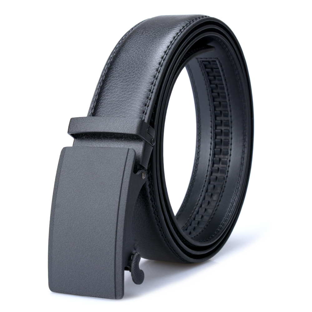 [Veroseice] High Quality Genuine Leather Men Belt Black Automatic Buckle Male Belt Business Waist Belts Men Cowskin Jeans Strap