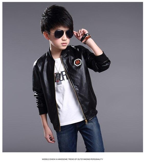 Teenage Boys Spring Autumn Jackets Warm Fleece Inner PU Leather ...