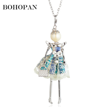 2019 New Doll Necklace For Girls Lace Dress Angle Wing Bow Pearl Pendant Women Statement Jewelry Gifts Accessories