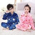 Invierno Niños Niñas niños Pijamas Pijamas ropa de Dormir de Franela Coral Polar Pijamas Sistemas de los Cabritos 2-13 T Niños Ropa de Dormir/Homewear