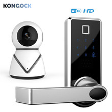 Wireless APP Fingerprint Smart Door Lock with WIFI camera, Touch screen Digital Password Left or Right-Free Handle