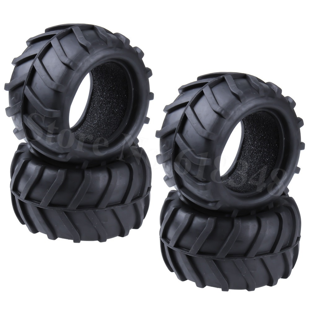 4Pcs/Lot RC Monster Truck Tire With Foam Inserts OD :82mm ID:52mm Width:46mm  For RC 1/16 Scale Off Road Car Replacement Parts