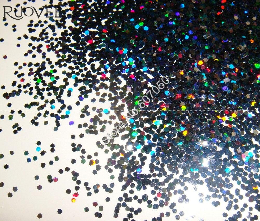 """50 г/пакет x 1 мм(1/2"""") Лазерная голографическая черная Ослепительная Шестигранная палитра блесток форма для украшения ногтей DIY"""