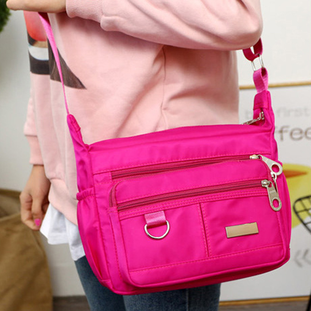 Women Fashion Solid Color Zipper Waterproof Nylon Shoulder Bag  Handbags,Shoulder Bag purple 25cm*19cm*9cm 27