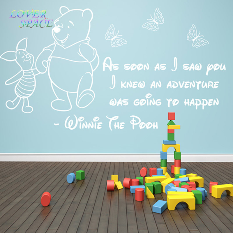 Winnie The Pooh Wall Sticker 3 Girls Boys Baby Bedroom Quote Home