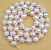 Women Gift word Love Shipping >>>>>natural 18 AAA 12 11 MM SOUTH SEA NATURAL White PEARL NECKLACE GOLD C silver jewelry