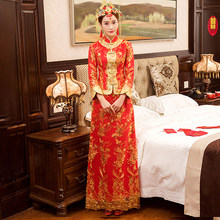New Red traditional chinese wedding dress Qipao National Costume Womens Overseas Chinese Style Bride Embroidery Cheongsam S-XXL(China)