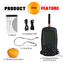 Goture Russian / English Menu Wireless Fish Finder 0.6-40m Fishing Depth Sounder Sonar Echo-sounder Fishfinder Fishing Tackle