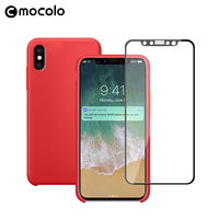 New Full Cover 3D Curved Tempered Glass Screen Protector and Soft Liquid Silicon Anti drop Ultra Slim Phone Case for iPhone X 10